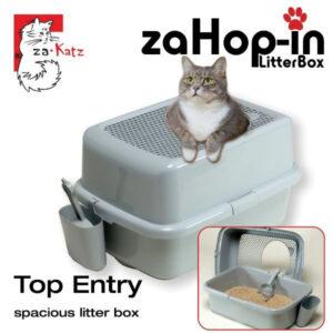 zaHop-in Cat Litter Box (Grey) | chefs4pets